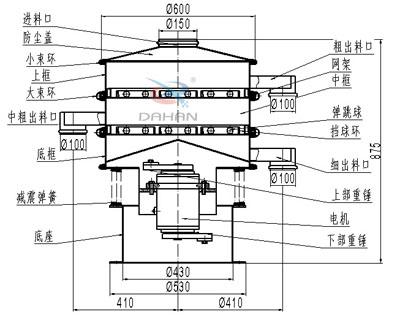 600型两层旋振筛结构图